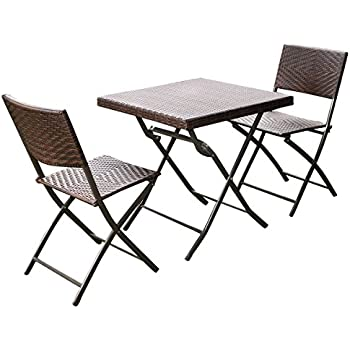 giantex 3 pc outdoor folding table chair furniture set rattan wicker bistro patio brown - Folding Table And Chairs