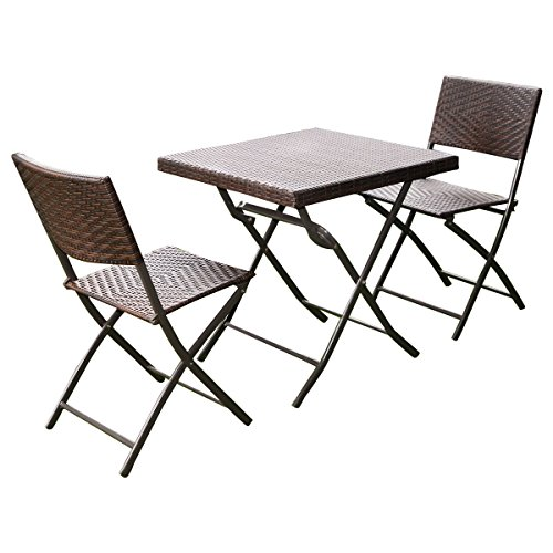 Folding Wicker - Giantex 3 PC Outdoor Folding Table Chair Furniture Set Rattan Wicker Bistro Patio Brown