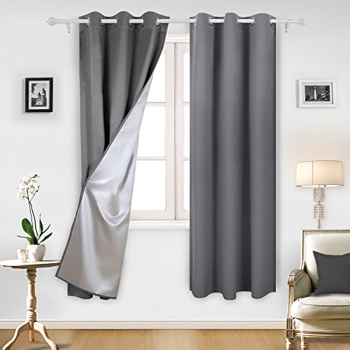 84l Panel (Deconovo Insulated Blackout Curtains Pair Grommet Curtains with Silver Coating for Sliding Glass Door 42W x 84L Inch Light Grey 2 Panels)