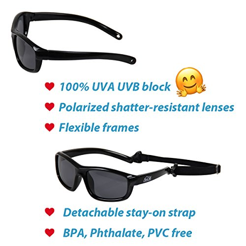 Baby Toddler Polarized Sunglasses With Strap 100% UV Block (M: 2-6Y, Blue) by JAN & JUL (Image #3)