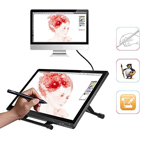 Ugee UG-2150 21.5 Inches LED Graphics Monitor IPS Pen Display HD Resolution Drawing Monitor Dual Monitor with Adjustable Stand, 2 Rechargeable Pens, 1 Drawing Glove, 1 Screen Protector by Ugee (Image #6)