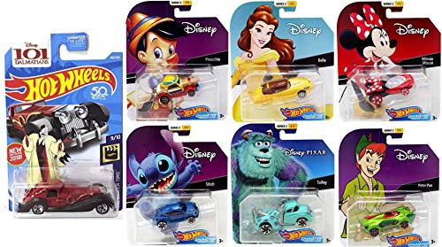 Hot Wheels Mix it up Cartoon Disney Character Bundle Set Minnie Mouse & Princess Belle / Stitch / Monsters Inc. Sulley Tow Truck / Peter Pan Pinocchio Cap Car + Cruella De Vil 7 Items
