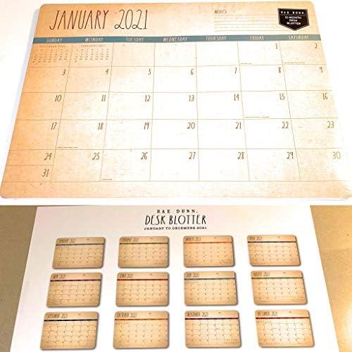 Rae Dunn Desk Pad Calendar 2021 Large 19x14 Ivory 12-Month Jan-Dec New