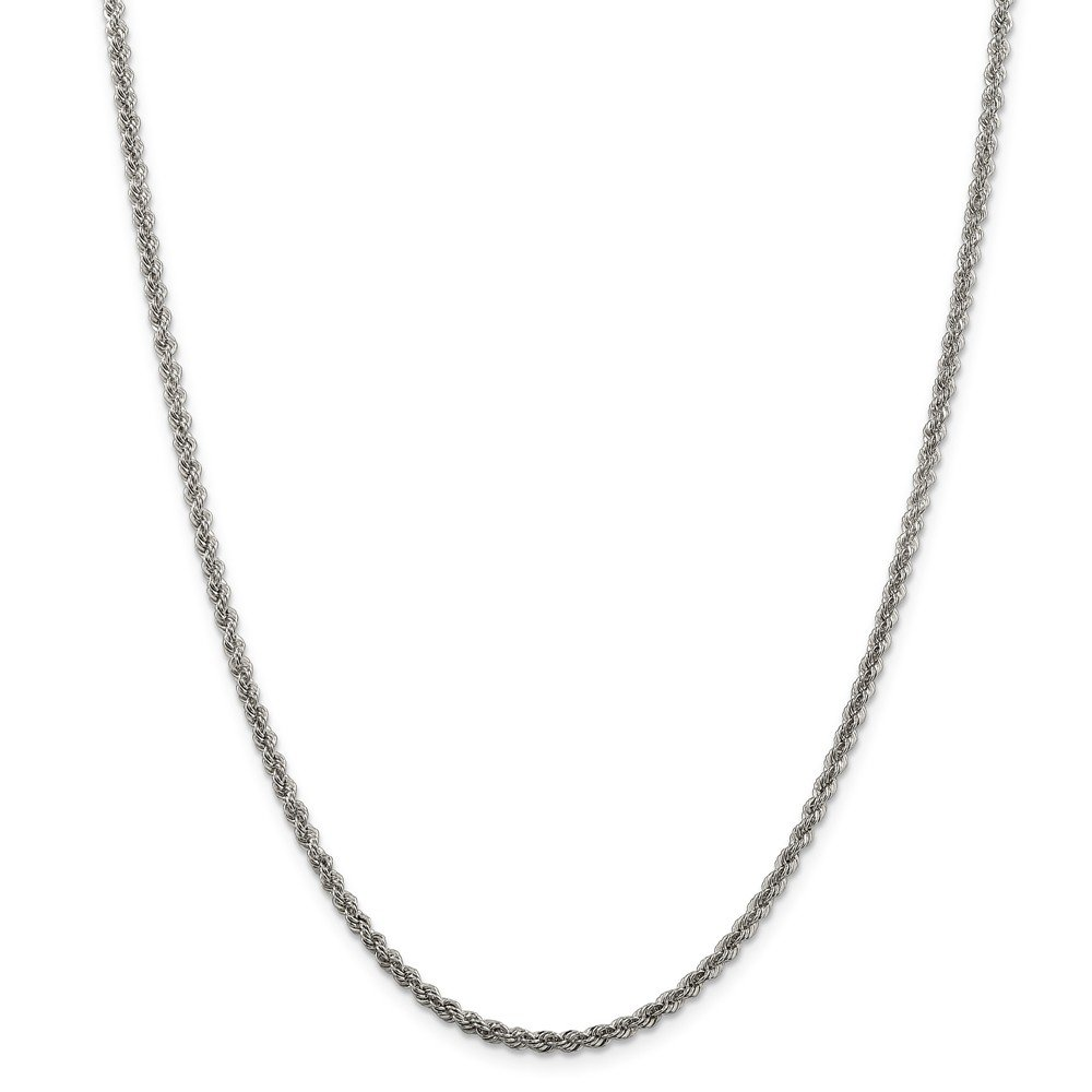 925 Sterling Silver Solid Rope Chain Necklace in Silver Choice of Lengths 16 18 20 22 24 30 26 28 and Variety of mm Options