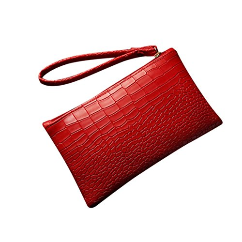 Hunzed Women Handbag, Leather Purse Phone Bag } Women { Vintage Handbag } Girls { Crocodile Patten Mini Bag} Gift (Red)