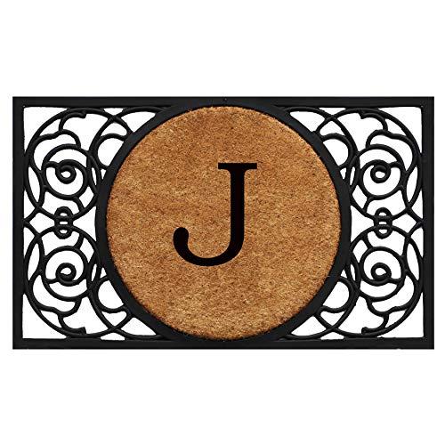Calloway Mills 180031830J Armada Circle Monogram Doormat, 18 x 30 Letter J