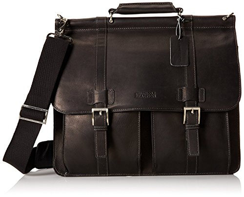 Kenneth Cole Reaction Columbian Leather Dowel Rod Computer Briefcase in Black
