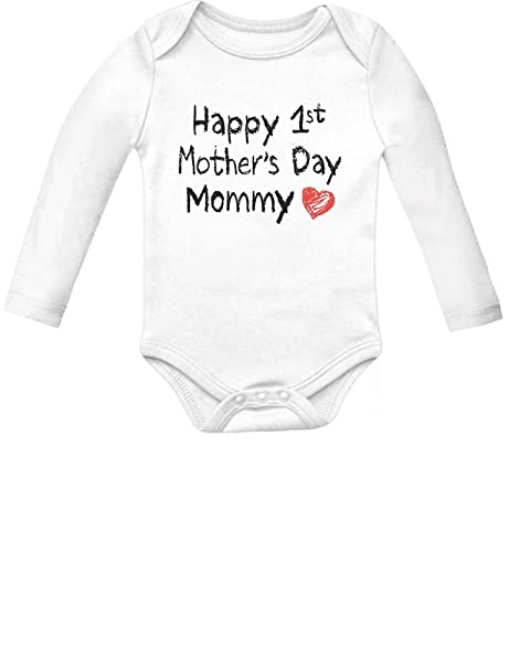 Mother S Day Gift Idea Happy First Mothers Day Mommy Infant Baby Long Sleeve Bodysuit 12m White Amazon In Baby