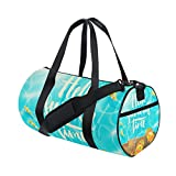 U LIFE Hello Summer Tropical Floral Flowers Fishes Sports Gym Shoulder Handy Duffel Bags for Women Men Kids Boys Girls