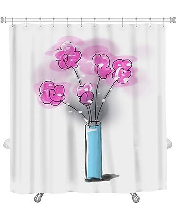 Amazon Gear New Sketch Flower Vase Shower Curtain 74 X 71