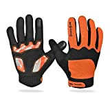 Ezyoutdoor Orange Unisex Breathable Touch Screen Full Finger Cycling Gloves Light Silicone Gel Pad Riding Gloves Bike Gloves Mountain Bike Gloves,Medium