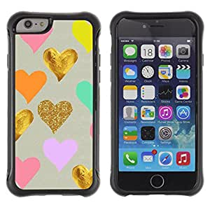 WAWU Funda Carcasa Bumper con Absorci??e Impactos y Anti-Ara??s Espalda Slim Rugged Armor -- golden foil pink blue love kids valentines -- Apple Iphone 6