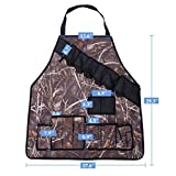 CO-Z Waxed Canvas Tool Apron with Tool Pockets Beer Bottles Holder 600D Oxford Fabric for BBQ Girll, Camouflage