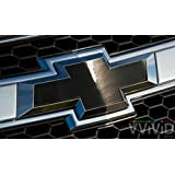 """VVIVID Black Chrome Auto Emblem Vinyl Wrap Overlay Cut-Your-Own Decal for Chevy Bowtie Grill, Rear Logo DIY Easy to Install 11.80"""" x 4"""" Sheets (x2)"""