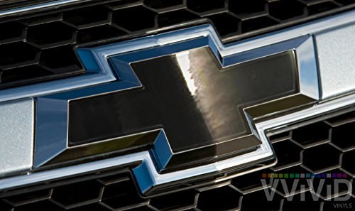 "Cut Overlay (VVIVID Black Chrome Auto Emblem Vinyl Wrap Overlay Cut-Your-Own Decal for Chevy Bowtie Grill, Rear Logo DIY Easy to Install 11.80"" x 4"" Sheets (x2))"