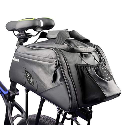 Allnice Bike Trunk Bag 11L Bicycle Panniers Pack Cycling Luggage Accessories Waterproof Rear Seat Pannier Bag Shoulder Handbag Bag Pannier Black