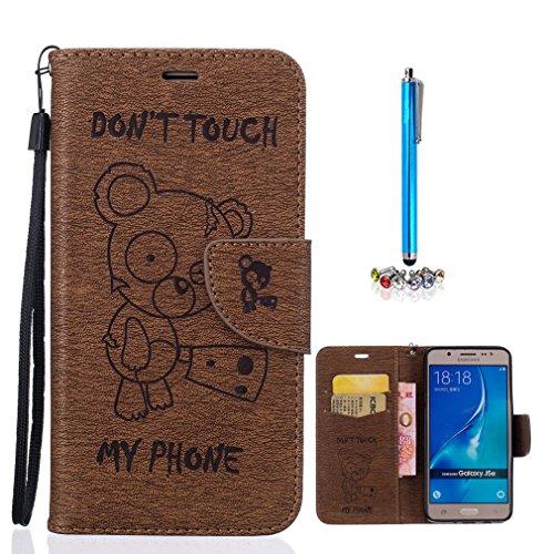 A9H Funda Book Style Cuero Sintético en Diseño Libro Samsung Galaxy J5 (J500) - Etui Case Cover Carcasa Caja Protección Invisible en -08 brown 08brown