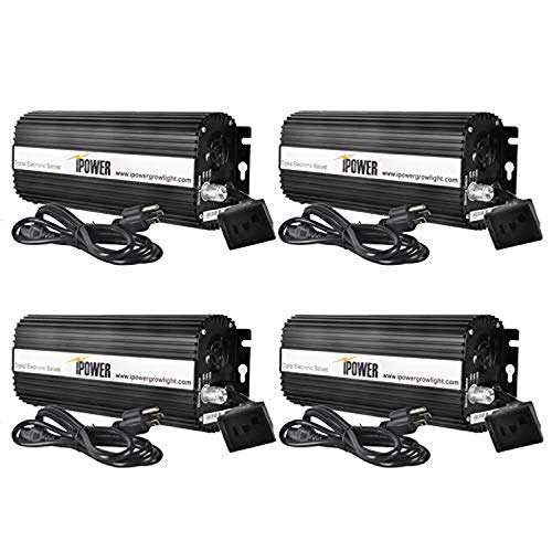 iPower GLBLST1000DX4 4-Pack Horticulture 1000 Watt Digital Dimmable Electronic Ballast for Hydroponic HPS MH Grow Light, 1000W, Black