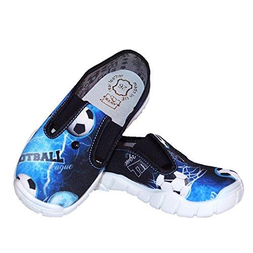 Raweks Baby Jungen Hausschuhe Kinderschuhe Kindergarten Schuhe Ledereinlegensohle Blau