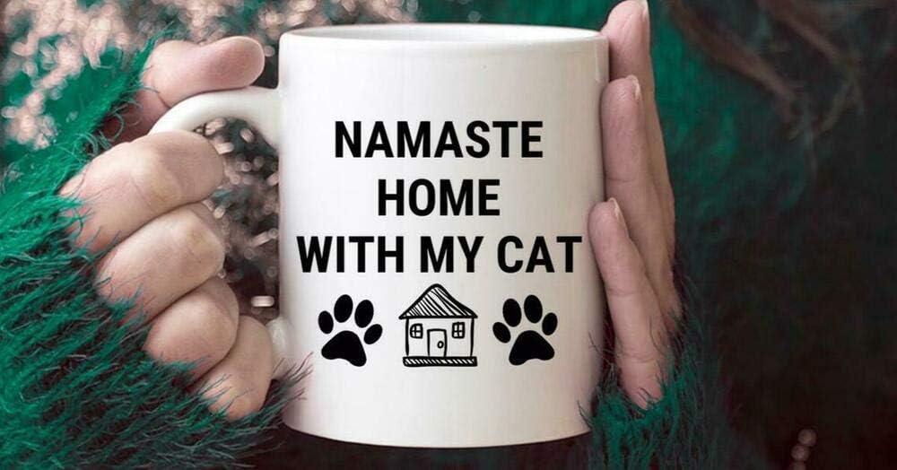 Cat Mom Mug - Cat Mom Mug - Namaste Home with my Cat mug - Mug for Cat Lover