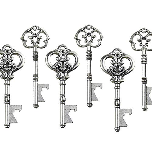Mixed 20 Extra Large Key Shape Bottle Openers Antique Silver Skeleton Keys - 2 Styles(Antique Silver)