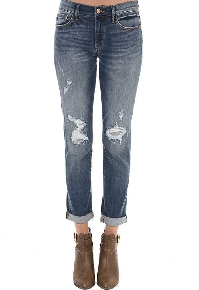 74c75840681 Judy Blue Destructed Boyfriend Cuffed Jeans (Regular   Plus Sizes) Blue at  Amazon Women s Jeans store
