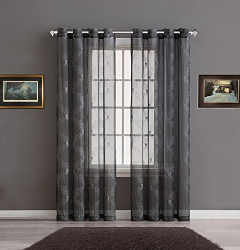 "Warm Home Designs Sheer Charcoal Faux-Linen Standard Size Curtain Panel with Silver Embroidery for Bedroom, Kitchen, Kids or Living Room. Each Grommets Drape Measures 54"" by 84\"". Charcoal-Silver 84"