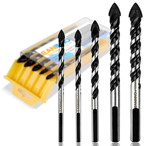 5 Piece Multi Material Drill Bit Set, Eaninno Installer Twist Drill Bits for Concrete Tile, Brick, Glass, Plastic, Wood, Carbide Tip Tool for Wall Mirror, Ceramic Tile, Brick Wall, 6 6 8 10 12 mm