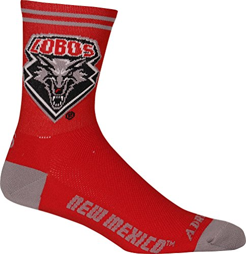 NCAA New Mexico Lobos Men's Cycling Socks, Small/Medium, Red by Adrenaline Promotions