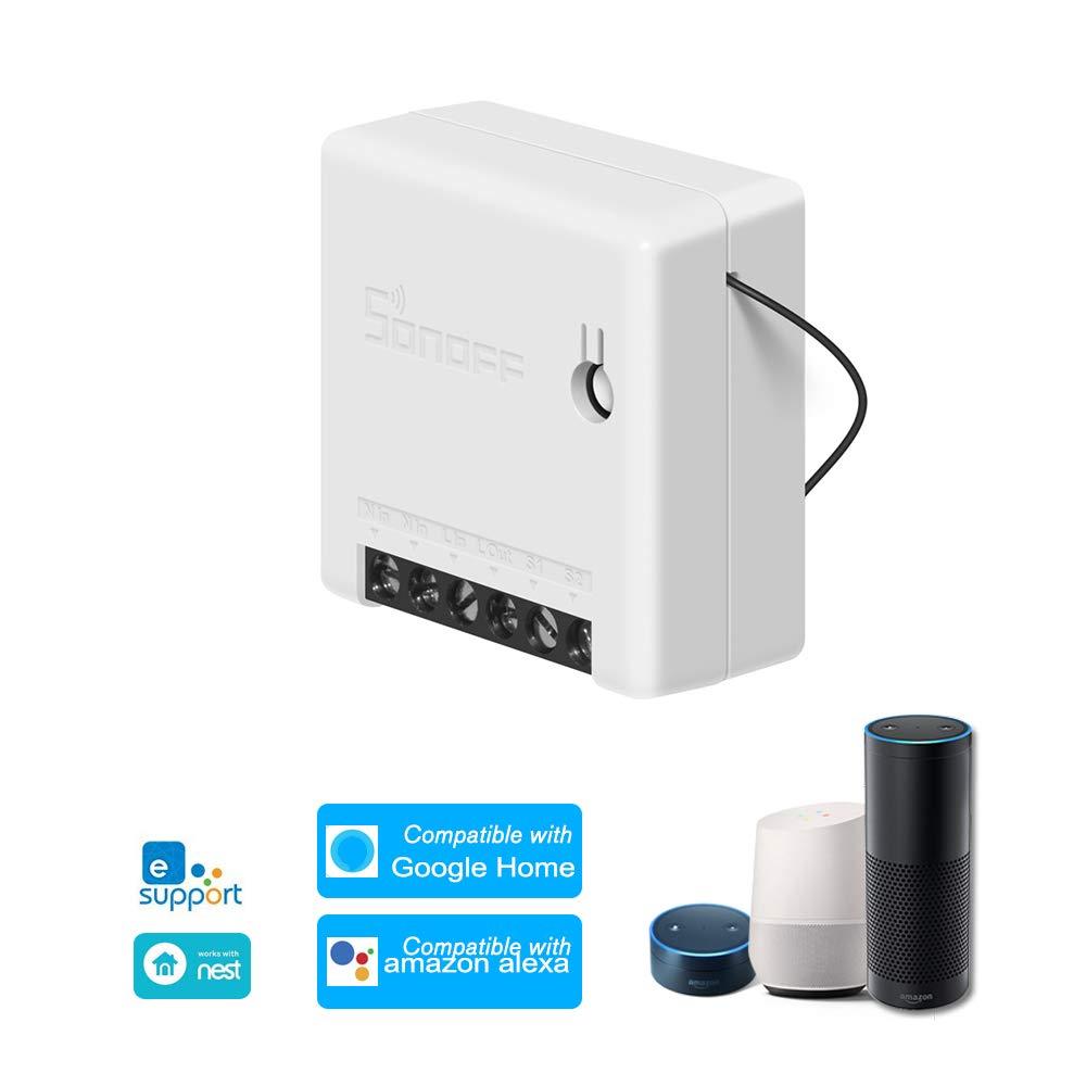 Moniel SONOFF Mini DIY Interruptor Inteligente de Dos v/ías Control Remoto de Cuerpo peque/ño Interruptor WiFi Soporte de Interruptor Externo Trabajar Compatible with Google Home//Nest IFTTT y Alexa