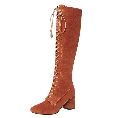Las Mujeres estiran Botas Altas Delgadas Sobre la Rodilla Las Botas Martin Zapatos de Tacones Altos Otoño Invierno con Cordones Botines Tacon Ancho ...