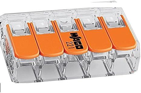 Lot de 1 /à 100 bornes /à levier /à 5 entr/ées WAGO 221-415 orange