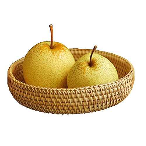 Natural Fruit Basket - 100% Handmade Weaved Storage Bin Fruit Basket Rattan Hamper Wicker Tray Weaving Rack Holder Dining Room Small Container Box Natural Decor Serving Handcrafted Bowl Organizer Serving Snack Dish Display