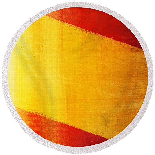 Pixels Round Beach Towel With Tassels featuring ''Spain Flag'' by Setsiri Silapasuwanchai by Pixels