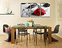 Canvas Print Wall Art Painting For Home Decor Still Life Of Love Red Rose Flower On Black And White Background With Vintage Elements 3 Pieces Panel Paintings Modern Giclee Stretched And Framed Artwork The Picture For Living Room Decoration Flower Pictures