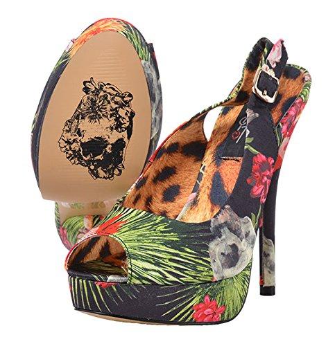 Damen Motiv Schwarz Fist Heels Iron Sana Reina High mit buntem Schuhe Blüten BAnnwqORf