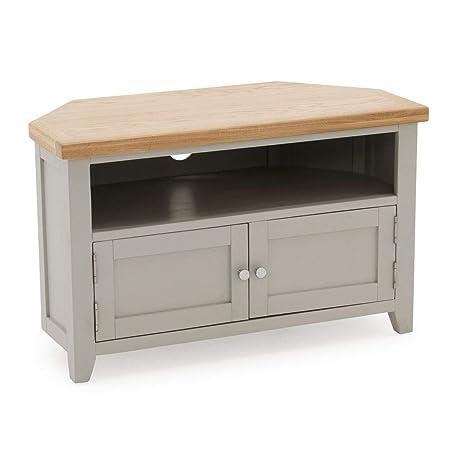 size 40 8f25d d51c5 Ferndale Painted Oak Corner TV Unit/Grey Corner TV Stand/Cabinet Living  Room Furniture