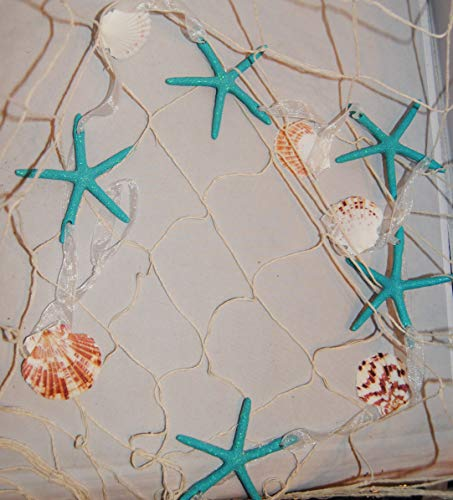 (Changing Seasons Sea Shell and Star Fish Garland with Decorative Fish Net (Teal Glitter))