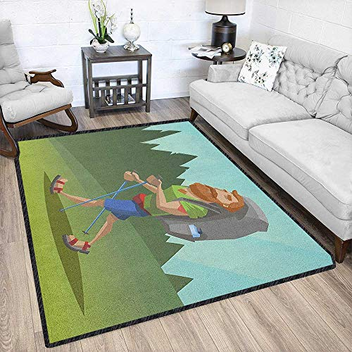 Explore Modern Geometric Area Rug,Man with a Beard Walking Through The Forest Cartoon Style Outdoor Activity Theme Multicolor & Anti-Skid Multicolor 67