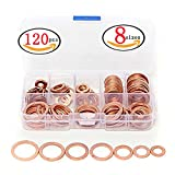 120pcs 8 Sizes Solid Copper Washers Sump Plug Assortment Washer Set Plastic Box Professional Hardware Accessories (120pcs 8 Sizes)