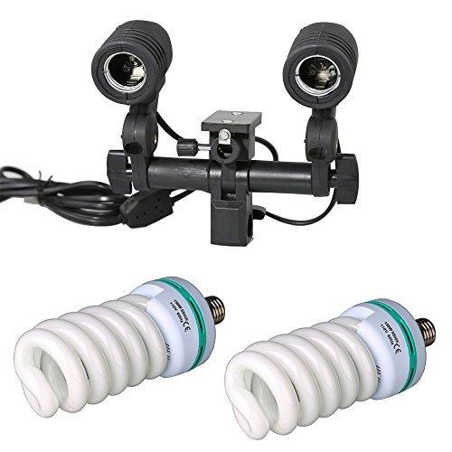 Godox AC Slave Flash Bulb Double E27 Light Stand Swivel Light 330w Photo Studio Strobe LightHolder with Lighting Umbrella Adapter (Flash Ac Light Slave)