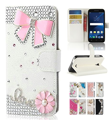 Alcatel idealXcite 5044R Case, Alcatel Verso/Alcatel CameoX case, Best Share Bling Flip Kickstand Leather Wallet Case Full Protective Cover & Card Slot, White-Pink ()