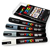 POSCA Colour Tones - PC-5M Art Marker - Set of 4 - In Plastic Wallet - Grey Tones