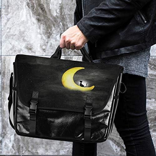 メッセンジャーバッグ メンズ 黒い猫 月 雲 斜めがけ 肩掛け カバン 大きめ キャンバス アウトドア 大容量 軽い おしゃれ