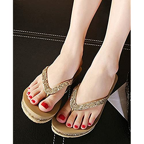 2272329eff3b3 IDIFU Women s Sexy Sequined Platform Wedge Flip Flops High Heel Thong Beach  Sandals hot sale 2017