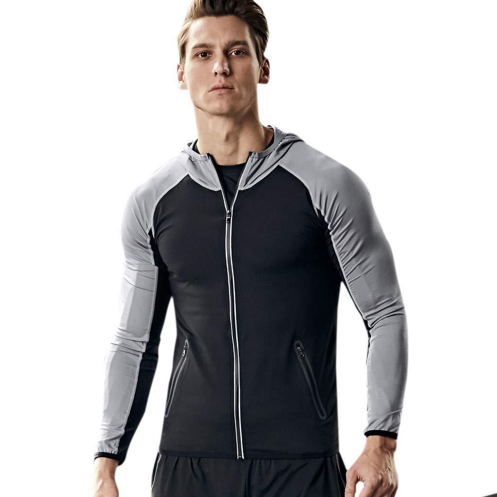 ZhixiaYS Men's Sport Jacket Lightweight Sweat Suction Outerwear Zipper Top Blouse Gray