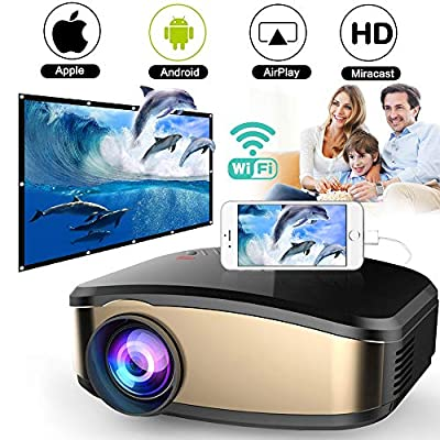 Wireless WiFi Video Projector DIWUER Projector +50% Brighter Full HD 1080P Portable Mini Projectors Support Airplay Mira-cast for Home Theater Game Movie
