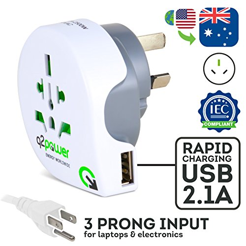 World to Australia Travel Adapter with USB Port by Q2Power | For Type I Outlets | Grounded & Safe | Works with Laptops, Computers, Smartphone Chargers, Portable Devices