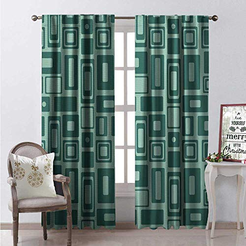 - Hengshu Geometric Room Darkening Wide Curtains Monochromatic Pattern Retro Style Shapes Rectangles Squares Circles Waterproof Window Curtain W96 x L84 Seafoam and Teal
