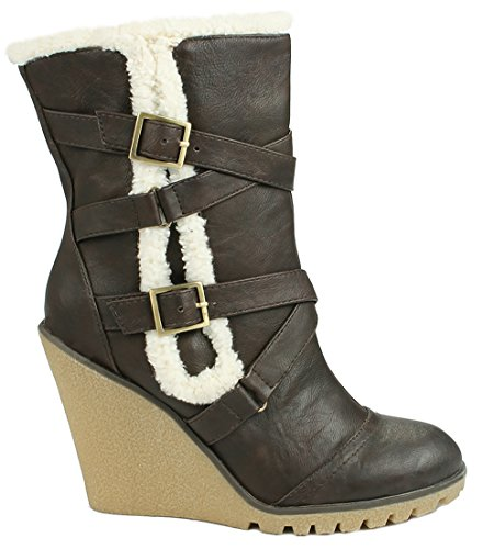 Women Fashion Buckles Mid-Calf Slouchy Zipper Wedge Heel Boots Brown_T-03 1xBb3Z